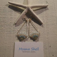 Moana Shellアマゾナイトとオレンジアベンチュリン ニュージェードのカイトピアス