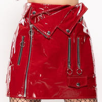 enamel/ライダースskirt  - Red Rouge-
