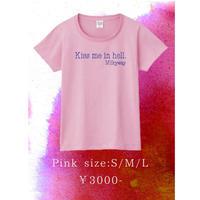 【通販限定値下げ!無くなり次第終了】「Kiss me in hell」Tシャツ ピンク