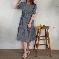 gingham check gather onepiece