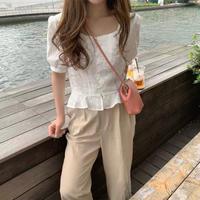 white squareneck blouse