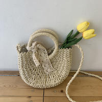 round ribbon straw bag