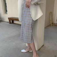 gingham check tight skirt