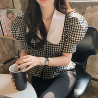 gingham check puffsleeve blouse