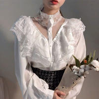 white lace highneck blouse