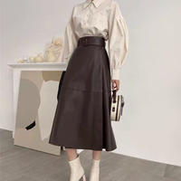 brown long leather skirt