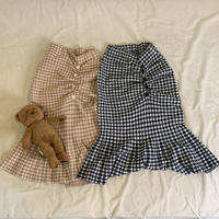 gingham check gather skirt
