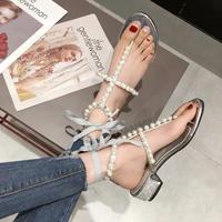 pearl ribbon sandal