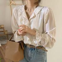 【即納】lace sleeve white blouse