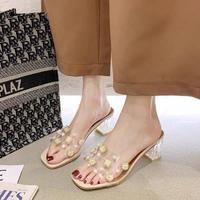 clear bijou sandals