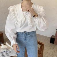 cotton big collar blouse