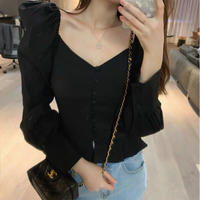 vneck girlypuffsleave blouse