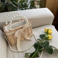 pearl shoulder straw bag