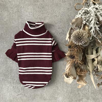 frill border knit . [ wine ]