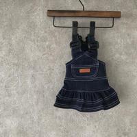 denim salopette skirt . [ blue ]