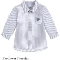 Tartine et Chocolate  ボーイ ストライプ コットン シャツ