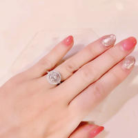 AAAcz  Clear Pink 3ct Round Brilliant Ring