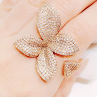 【即納】AAAcz Pave Flower Ring