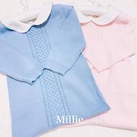 【ブルー】Lala blue コットン ニット カバーオール