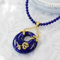 K18YG ラピスラズリ ダイヤモンド ペンダント ネックレス◇18K Lapis lazuli Diamond Pendant Lapis beads Necklace 33971-160