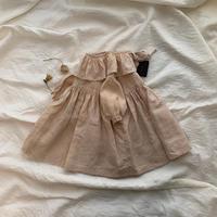 02 柿渋染めフリルワンピース(子供服)80.90