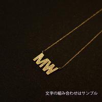 2文字カスタマイズ(アルファベット) ゴールドネックレス K18 ダイヤ イニシャル 細チェーン