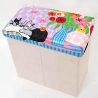刺繍スツール(50×27×50) ロジーナ「花とネコ」 商品番号:is1087-rs-60