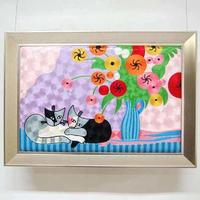 刺繍絵画(69×49) ロジーナ「花とネコ」 商品番号:is1087-rw-60