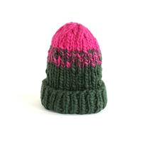 Low Gauge Knit Cap (Green x Pink)