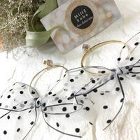 【silver】dot  see-through ribbon pierce