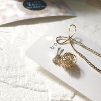 【チタン】asymmetry ribbon bijou pearl  pierce