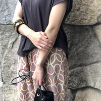 【 RE LEAN | リリーン 】 ローブ柄プリントワイドパンツ | 1190206084