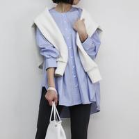 Abientot original item!|オリジナルストライプノーカラーオーバーシャツ '20 spring|T1079