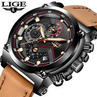 LIGE Relogio Masculino メンズ クォーツ 腕時計 クロノグラフ 防水 メンズ レザー 革 ビジネス カジュアル(kk04557)