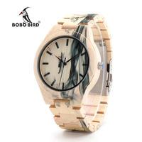 BOBO BIRD メンズ 腕時計 ウォッチ クォーツ メープルウッド 木製 インク風景画 レロジオ 男性用 カジュアル ファッション O17(kk04588)