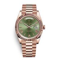 メンズ腕時計 アナログ 高級ブランド メタリック レトロ アンティーク カレンダー ステンレス 防水機能 グリーン&ローズ色(kk04043)