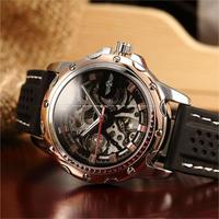 T-WINNER メンズ 腕時計 ウォッチ スケルトン 自動巻き 機械式 時計 ラバー シリコンバンド 男性用 カジュアル ビジネス ファッション(kk04705)