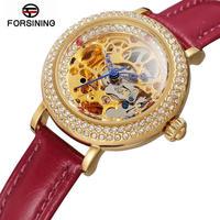 Forsining レディース 腕時計 ウォッチ ファッション レザー スケルトン ビジネス 通勤 通学 カジュアル カラフル(kk04666)