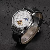 OUYAWEI メンズ 腕時計 ウォッチ 自動巻き 機械式 トゥールビヨン ムーンフェイズ ルミナスハンズ 男性用 レザーストラップ カジュアル ビジネス(kk04639)