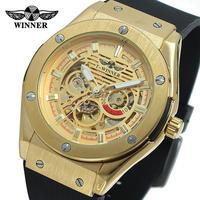 T-WINNER メンズ 腕時計 自動 機械式 スケルトン カジュアル ラバー 通勤 通学 ファッション(kk04600)