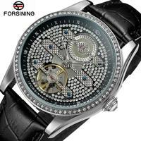 FORSINING メンズ 腕時計 自動巻き 機械式 レザー ラインストーン 防水 ビジネス 通勤 通学 カジュアル(kk04682)