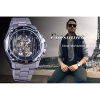 FORSINING メンズ 腕時計 ウォッチ 自動巻き 機械式 スケルトン 軍事 ミリタリー スポーツ ステンレス 男性用 カジュアル ファッション ビジネス Silver(kk04674)