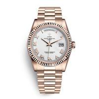 メンズ腕時計 アナログ 高級ブランド メタリック レトロ アンティーク カレンダー ステンレス 防水機能 ホワイト&ローズ色(kk04044)