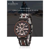 BOBO BIRD メンズ 腕時計 ウォッチ クォーツ式 木製 クロノグラフ ルミナスハンズ カレンダー 防水 男性用 カジュアル ファッション ギフト プレゼント(kk04670)
