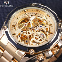 FORSINING メンズ 腕時計 自動巻き 機械式 ステンレス スケルトン 防水 ビジネス 通勤 通学 カジュアル(kk04683)