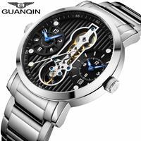 GUANQIN メンズ 腕時計 ウォッチ カレンダー 機械式 自動巻  クロノグラフ トノー型 スケルトン 通勤 通学 シンプル(kk04671)