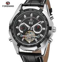 FORSINING メンズ 腕時計 トゥールビョン 革バンド シンプル 自動巻き カレンダー 日付 機械式 ビジネス 通勤 通学 ウォッチ(kk04638)