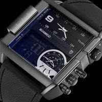 BecoFaton メンズ 腕時計 カジュアル おしゃれ LEDディスプレイ 3つのタイムゾーン クォーツ デザイン レザーバンド 通学 通勤 ビジネス(kk04653)