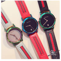 GUOU レディース 腕時計 ウォッチ クォーツ 防水 カラフル 女性用 レザーバンド ファッションウォッチ カジュアル 海外人気モデル レロジオ(kk04541)