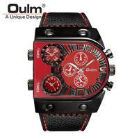 腕時計  メンズ  クオーツ  レザーバンド アナログ Oulm レッド     ( kk04019)